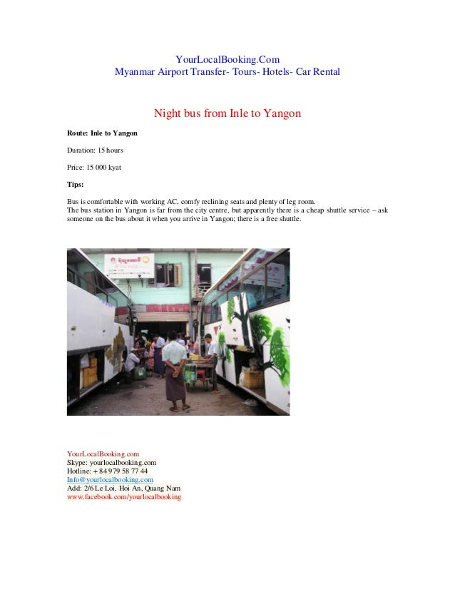 Night bus from inle to yangon