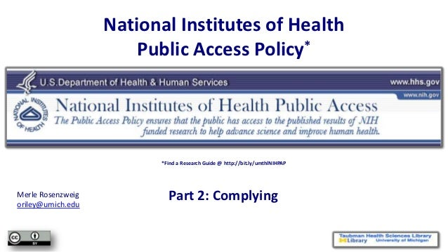 NIHPAP Lecture, part 2 - Complying