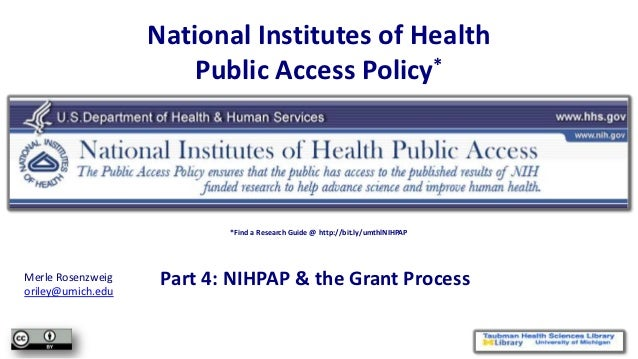 NIHPAP Lecture, part 4 - NIHPAP & the Grant Process