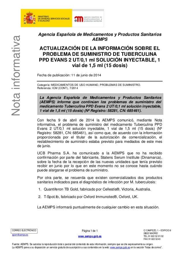Notainformativa Agencia Española de Medicamentos y Productos Sanitarios AEMPS ACTUALIZACIÓN DE LA INFORMACIÓN SOBRE EL PRO...