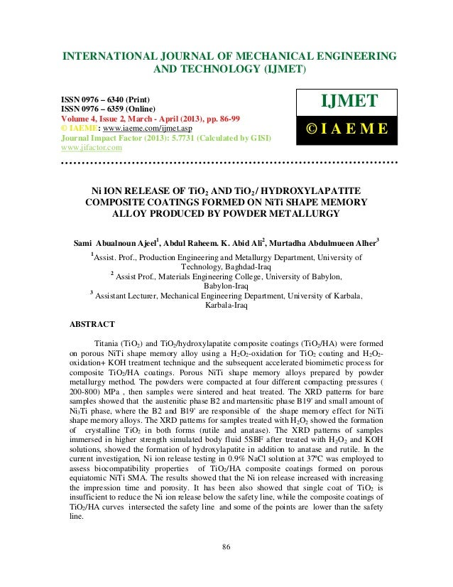 Ni ion release of ti o2 and tio2  hydroxylapatite composite coatings formed