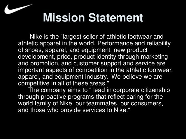 nike shoes mission statement