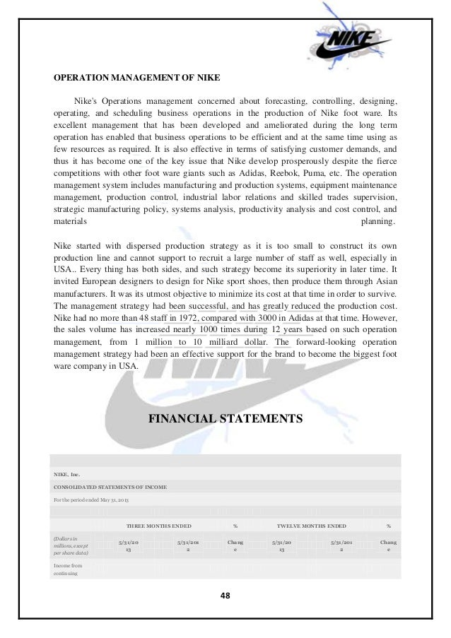 operation management of nike An analysis of international operations management: case study of nike contents introducing nike nike, inc is the world's leading innovator in athletic footwear, apparel, equipment and accessories.