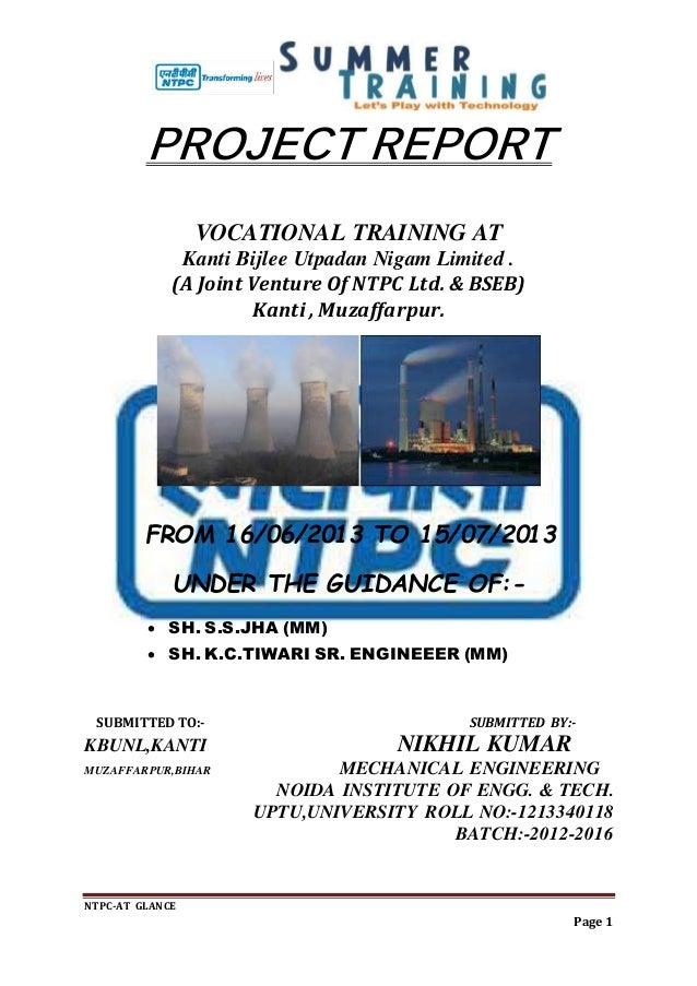 Nikhil kumar project report ON NTPC KANTI