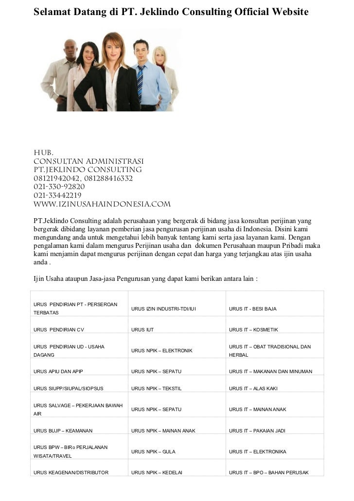 Selamat Datang di PT. Jeklindo Consulting Official WebsiteHub.Consultan AdministrasiPT.JEKLINDO CONSULTING08121942042, 081...