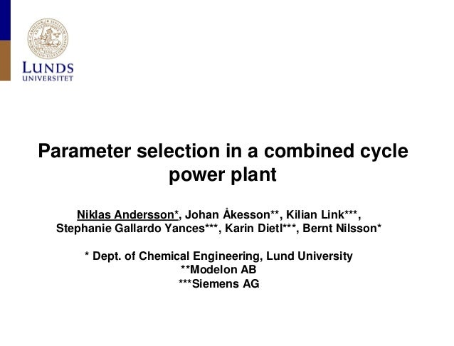 Parameter selection in a combined cycle power plant