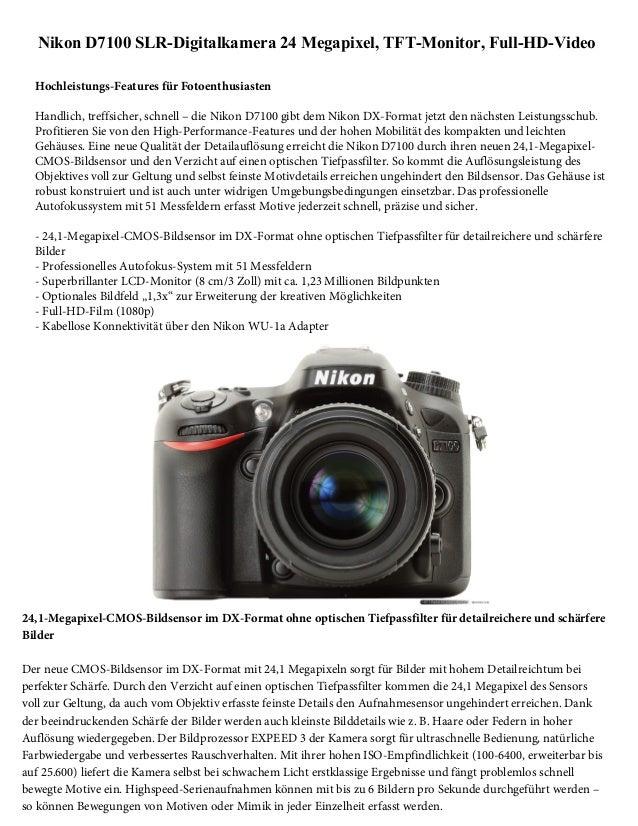 Nikon D7100 SLR-Digitalkamera 24 Megapixel, TFT-Monitor, Full-HD-VideoHochleistungs-Features für FotoenthusiastenHandlich,...