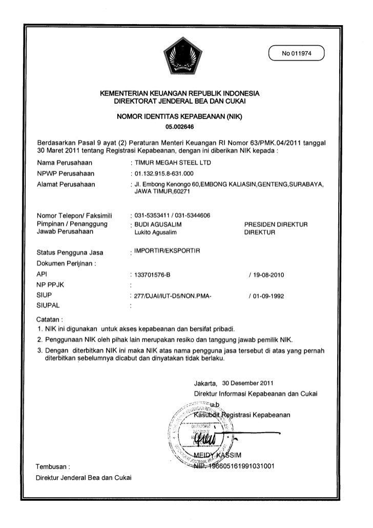 ( No 011974 )                      KEMENTERIAN KEUANGAN REPUBLIK INDONESIA                         DIREKTORAT JENDERAL BEA...