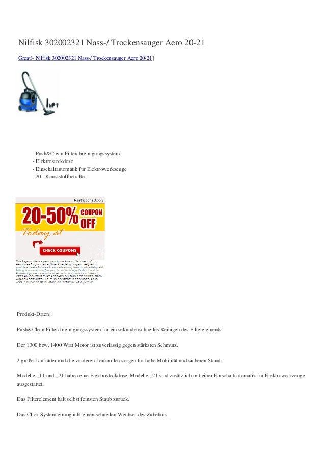 Nilfisk 302002321 Nass-/ Trockensauger Aero 20-21Great!- Nilfisk 302002321 Nass-/ Trockensauger Aero 20-21]       - Push&C...