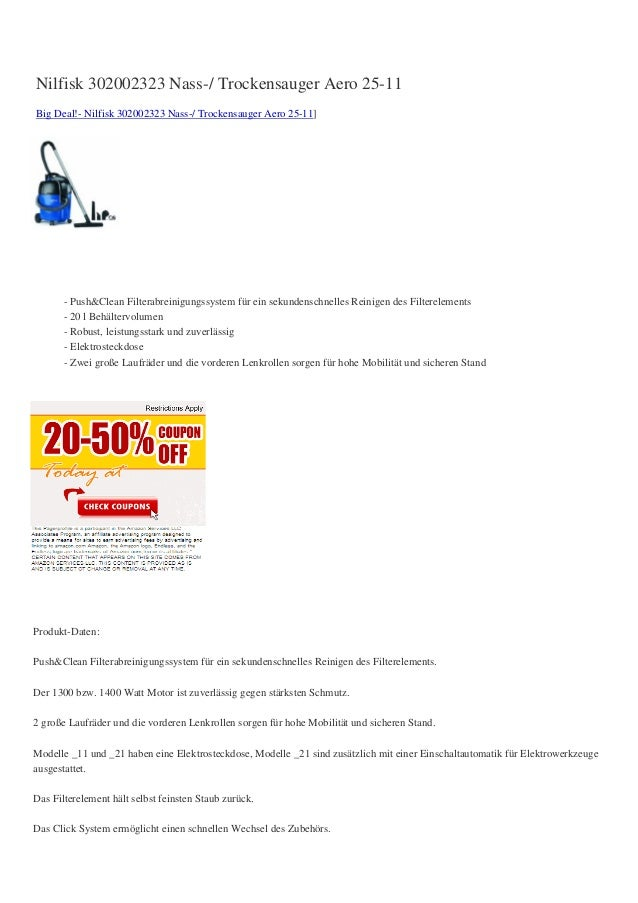 Nilfisk 302002323 Nass-/ Trockensauger Aero 25-11Big Deal!- Nilfisk 302002323 Nass-/ Trockensauger Aero 25-11]       - Pus...