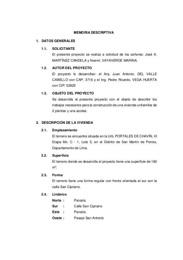 Nilton rojas memoria descriptiva for Memoria descriptiva arquitectura
