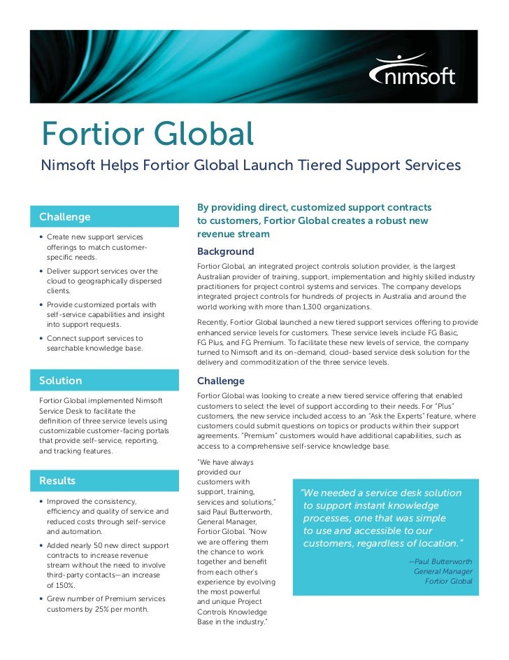 Nimsoft Helps Fortior Global Launch Tiered Support Services