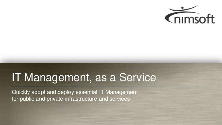 Nimsoft Presentation: Big Data management & IT monitoring