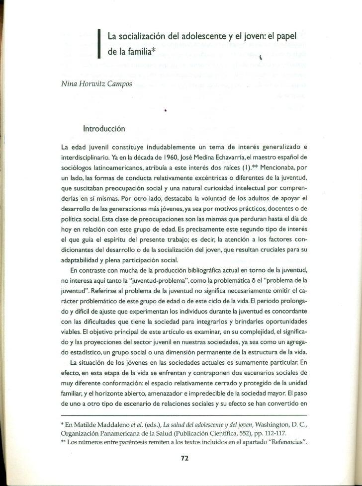 La socialización del adolescente               y el joven: el papel             I   de la familia*Nina Horwitz Campos     ...