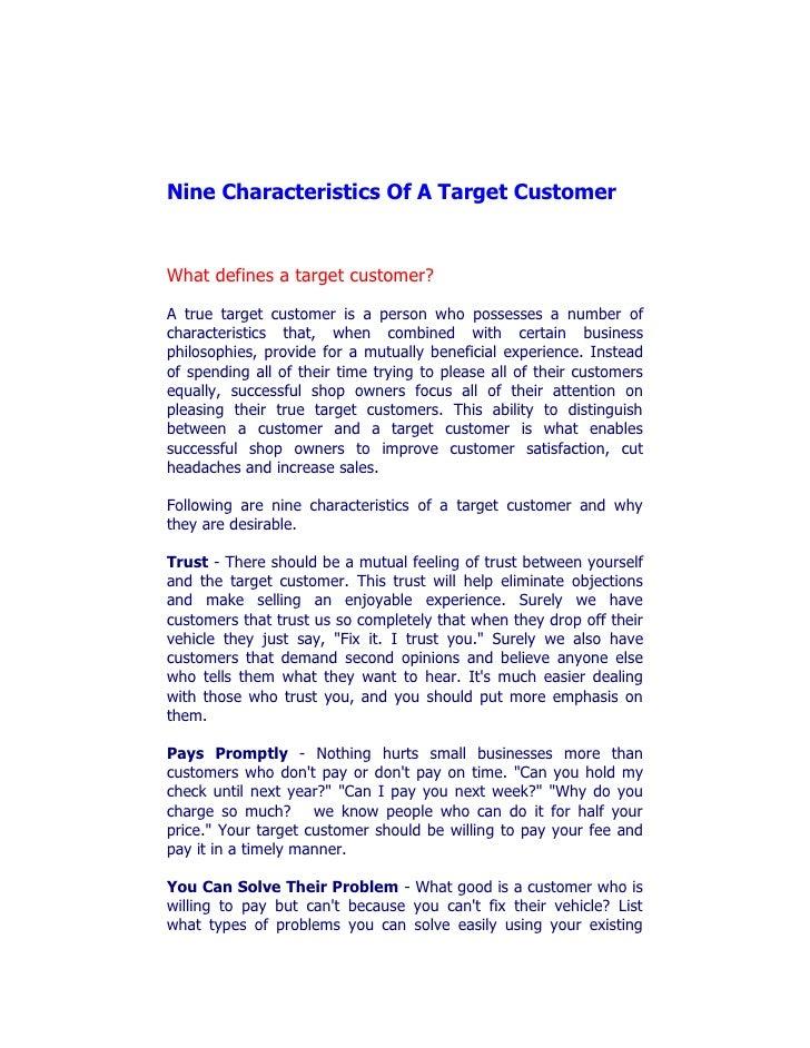 Nine characteristics of a target customer