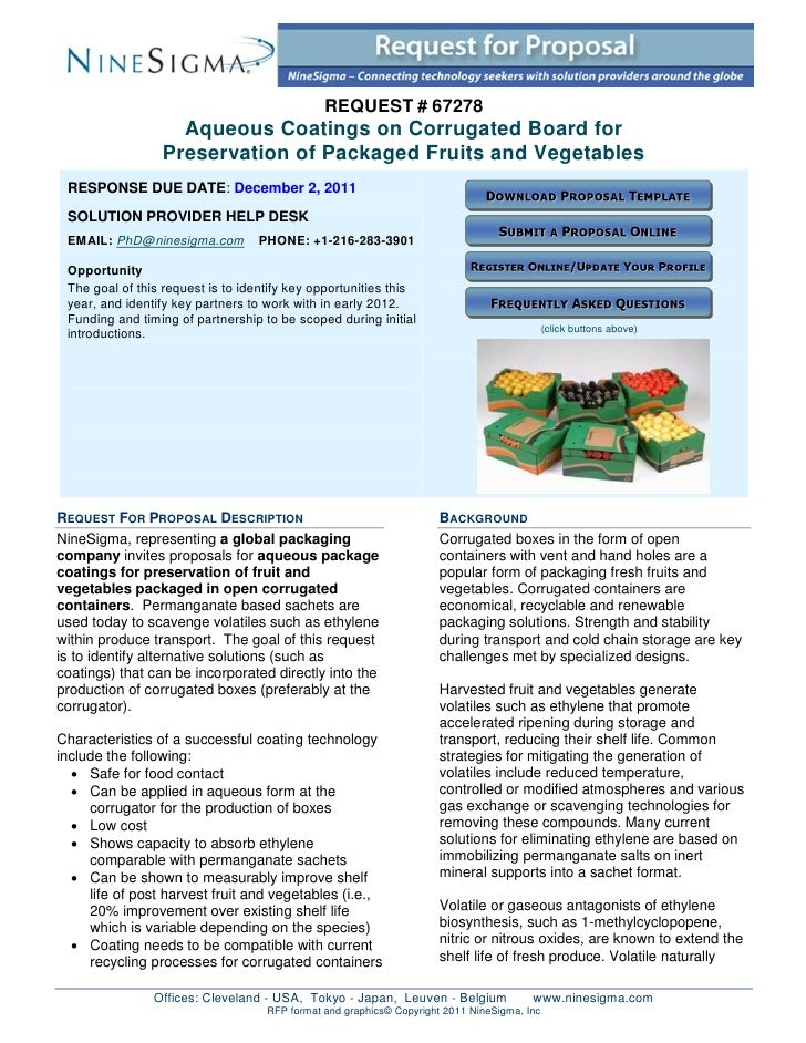 REQUEST # 67278                   Aqueous Coatings on Corrugated Board for                 Preservation of Packaged Fruits...