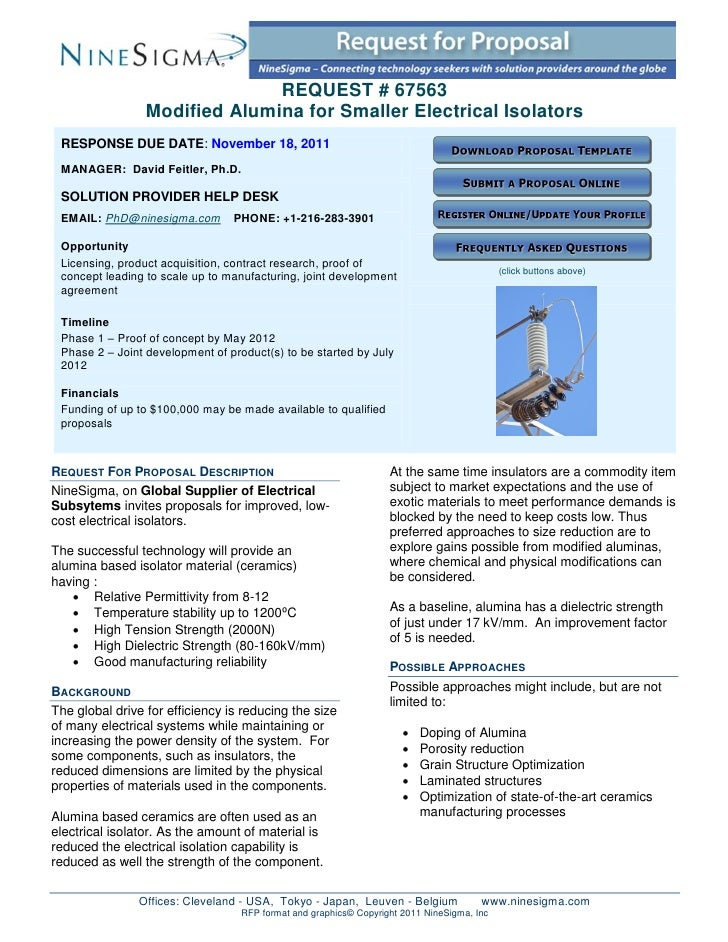 REQUEST # 67563                 Modified Alumina for Smaller Electrical Isolators RESPONSE DUE DATE: November 18, 2011 MAN...