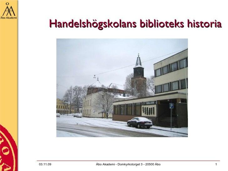 Handelshögskolans biblioteks historia