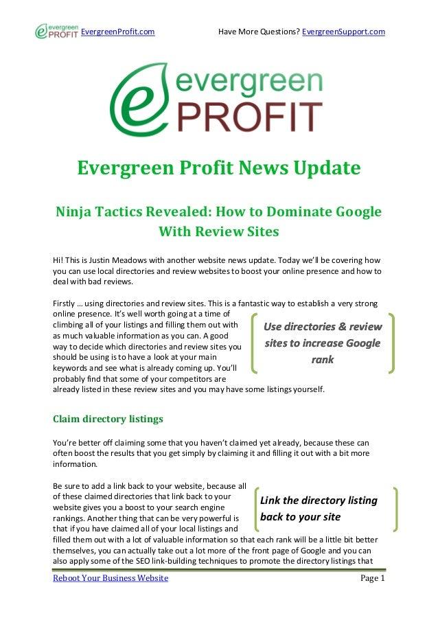 EvergreenProfit.com                     Have More Questions? EvergreenSupport.com      Evergreen Profit News UpdateNinja T...