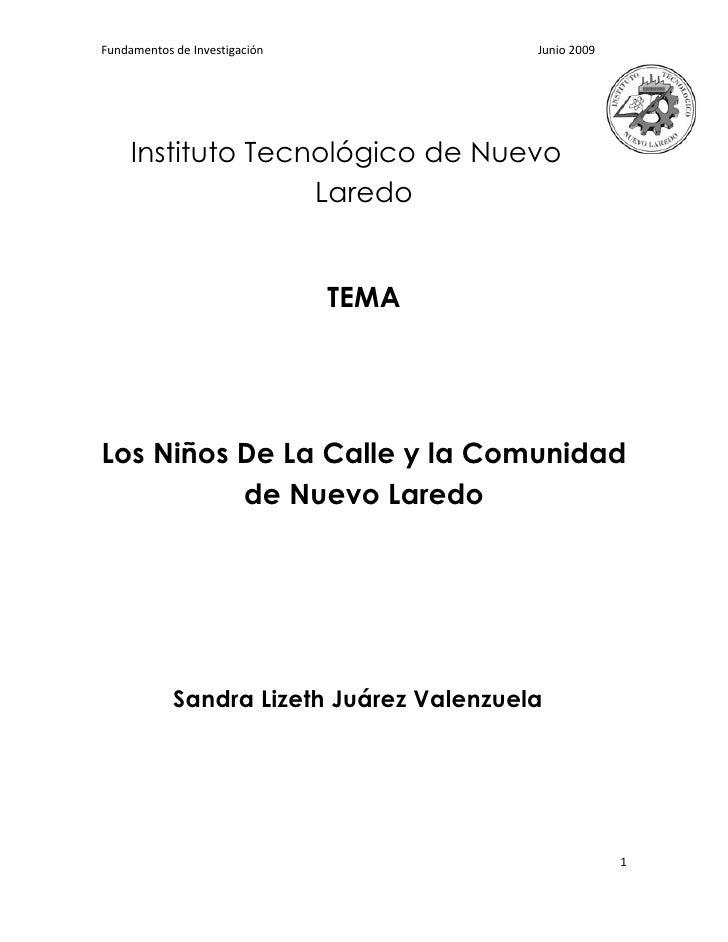 Fundamentos de Investigación              Junio 2009          Instituto Tecnológico de Nuevo                    Laredo    ...