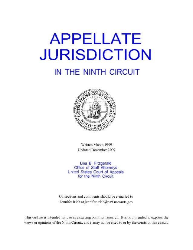 Ninth circuit appellate jurisdiction outline   9th circuit   452-pages