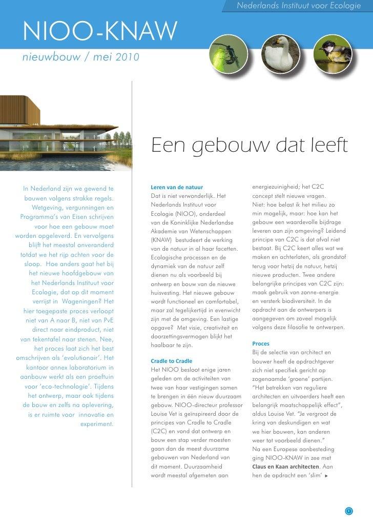 Nederlands Instituut voor Ecologie     NIOO-KNAW   nieuwbouw / mei 2010                                             Een ge...