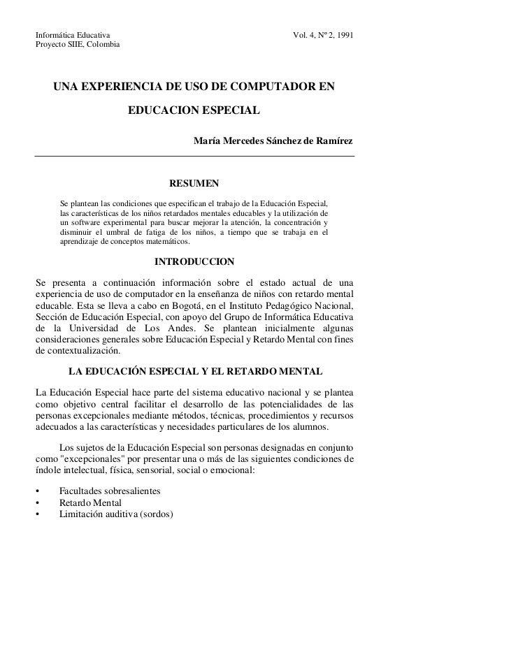 Informática Educativa                                                        Vol. 4, Nº 2, 1991Proyecto SIIE, Colombia    ...