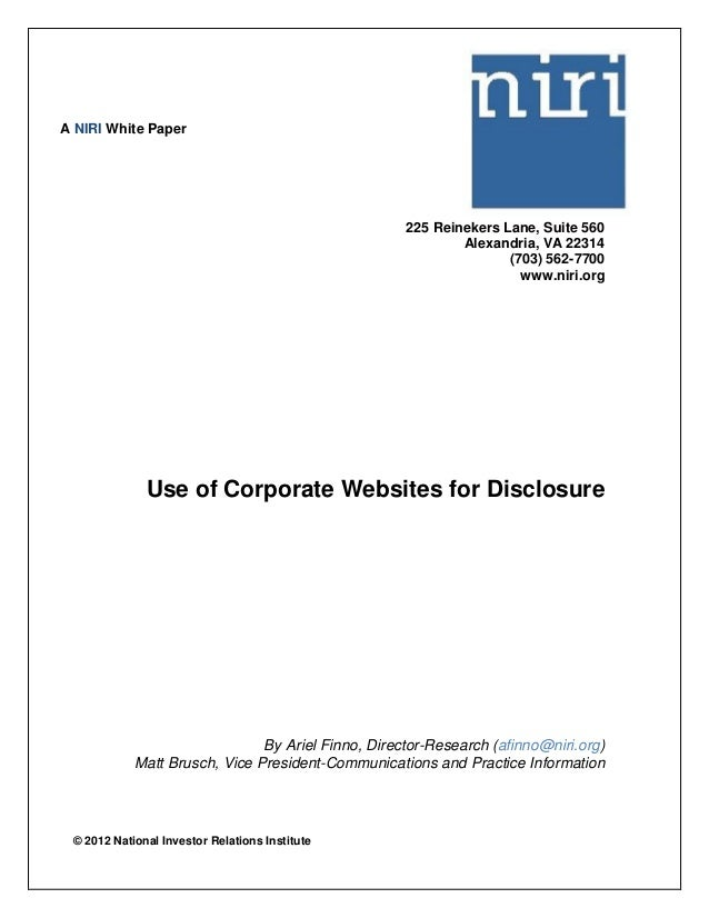 NIRI White Paper: Use of Corporate Websites for Disclosure