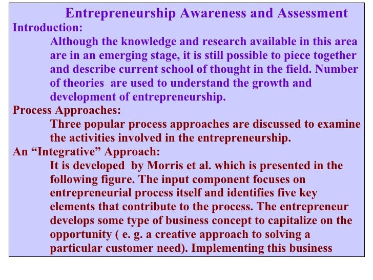 Entrepreneurship Awareness and Assessment Introduction: Although the knowledge and research available in this area are i...