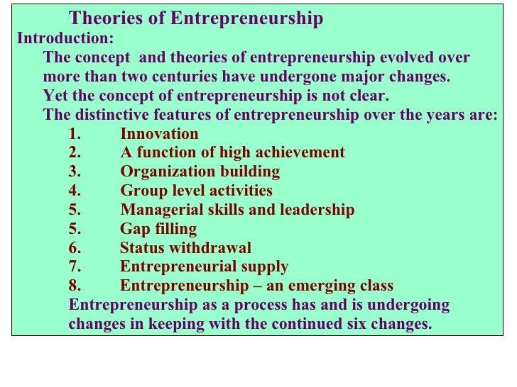 <ul><li>Theories of Entrepreneurship </li></ul><ul><li>Introduction: </li></ul><ul><li>The concept  and theories of entrep...