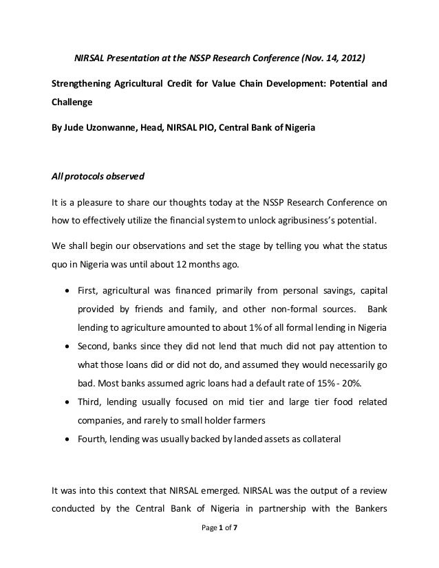 NIRSAL Presentation at the NSSP Research Conference (Nov. 14, 2012)Strengthening Agricultural Credit for Value Chain Devel...