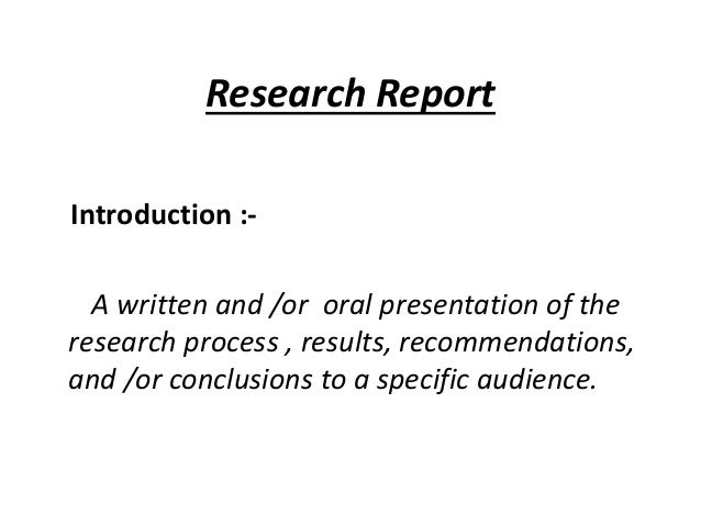 introduction research report