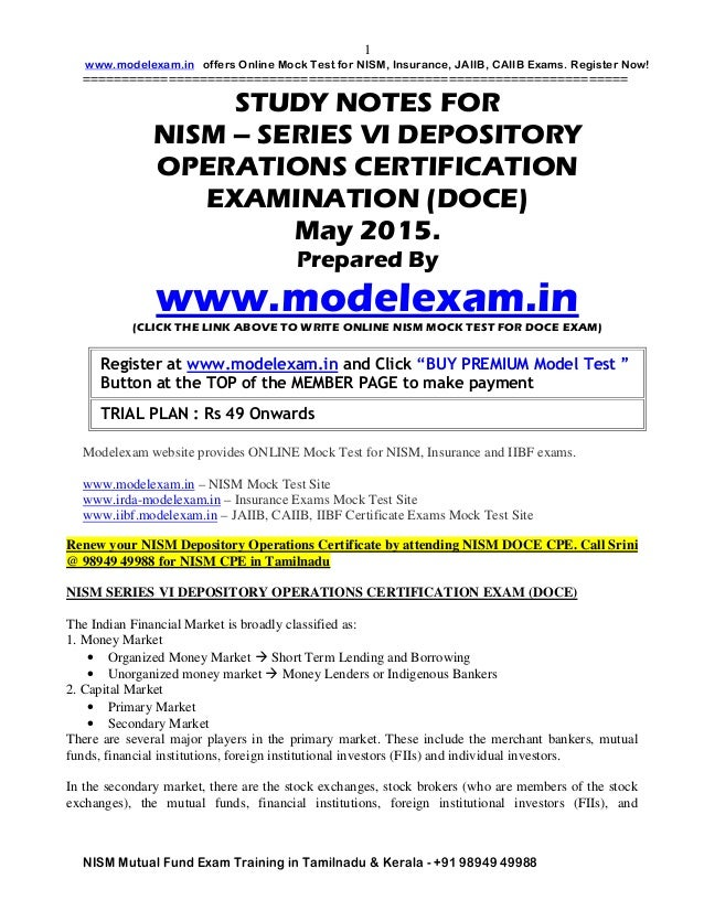 NISM STUDY MATERIAL FOR NISM DOCE DEPOSITORY EXAM GUIDE.