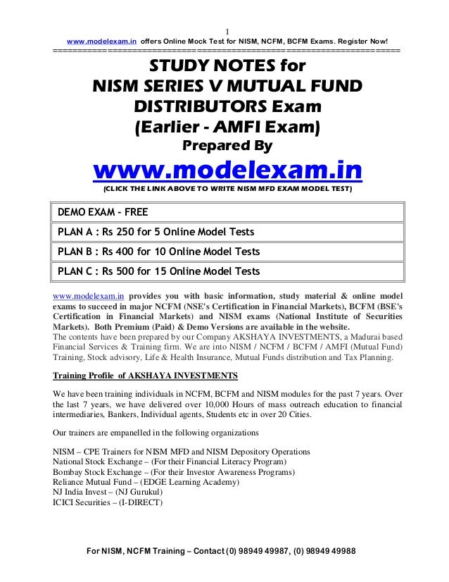 STUDY MATERIAL FOR NISM MUTUAL FUND EXAM (EARLIER AMFI). NISM,AMFI MOCK TEST AT WWW.MODELEXAM.IN