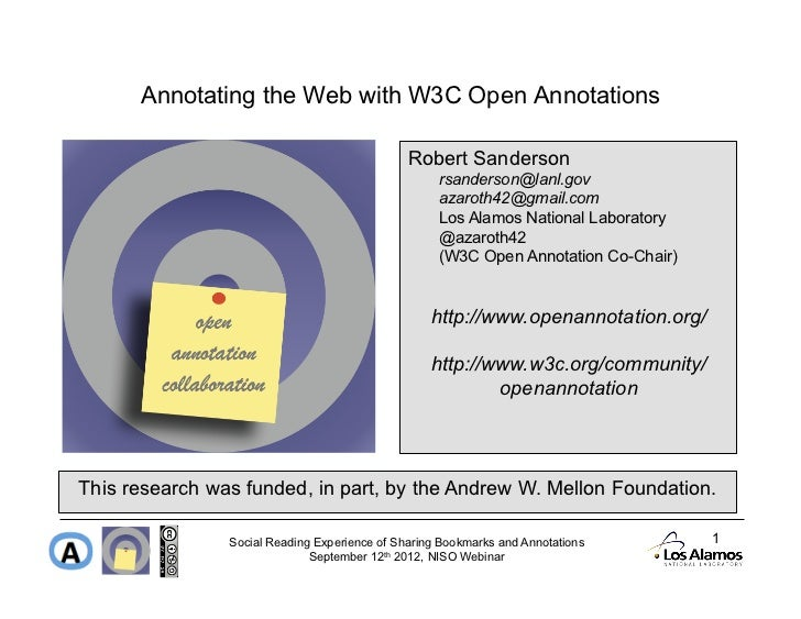 Annotating the Web with W3C Open Annotations                                               Robert Sanderson               ...