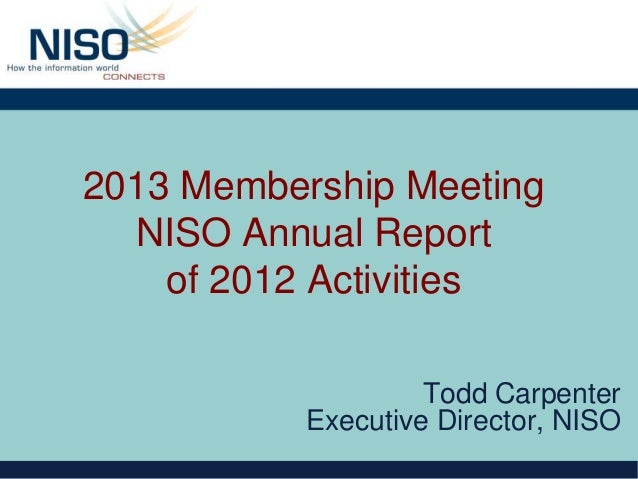 NISO Annual Report of 2012 Activities