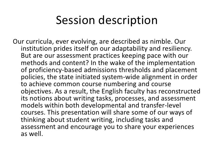 Session description<br />Our curricula, ever evolving, are described as nimble. Our institution prides itself on our adapt...