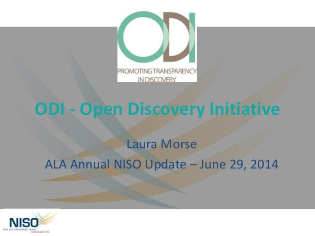 NISO Update ODI June 2014 Morse