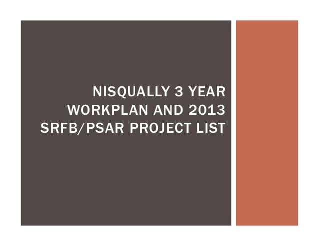 NISQUALLY 3 YEAR WORKPLAN AND 2013 SRFB/PSAR PROJECT LIST