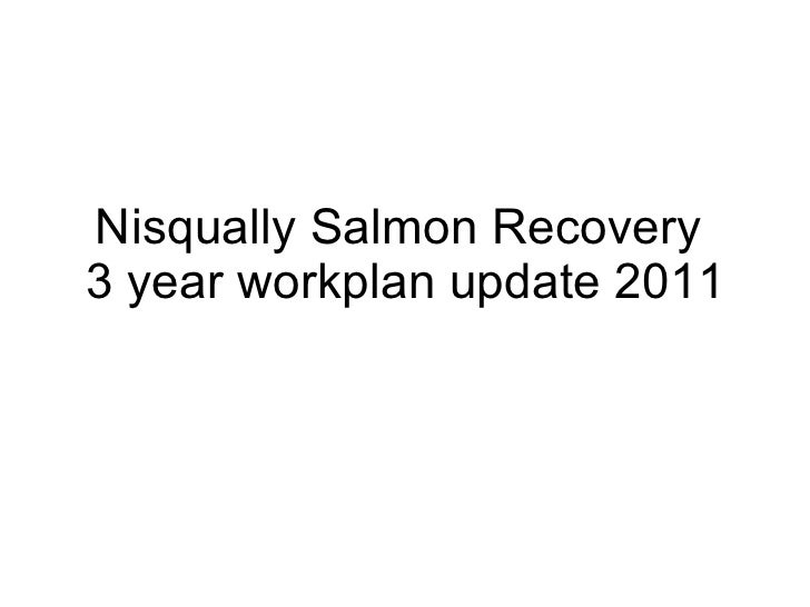 Nisqually Salmon Recovery  3 year workplan update 2011