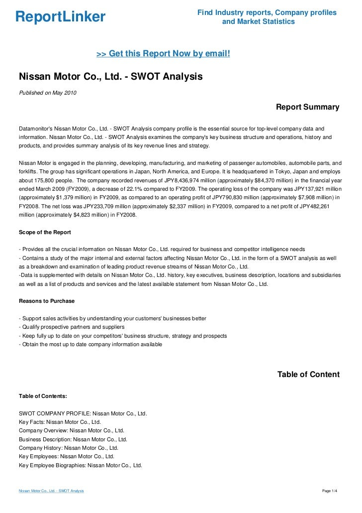 nissan corp swot Weaknesses, opportunities and threats analysis swot analysis  10  australian die casting association: a company named nissan casting in  australia.