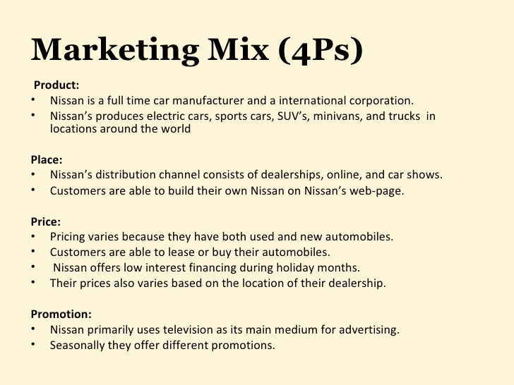 marketing strategies of nissan india Marketing mix of nissan analyses the brand/company which covers 4ps (product, price, place, promotion) nissan marketing mix explains the business & marketing strategies of the brand.