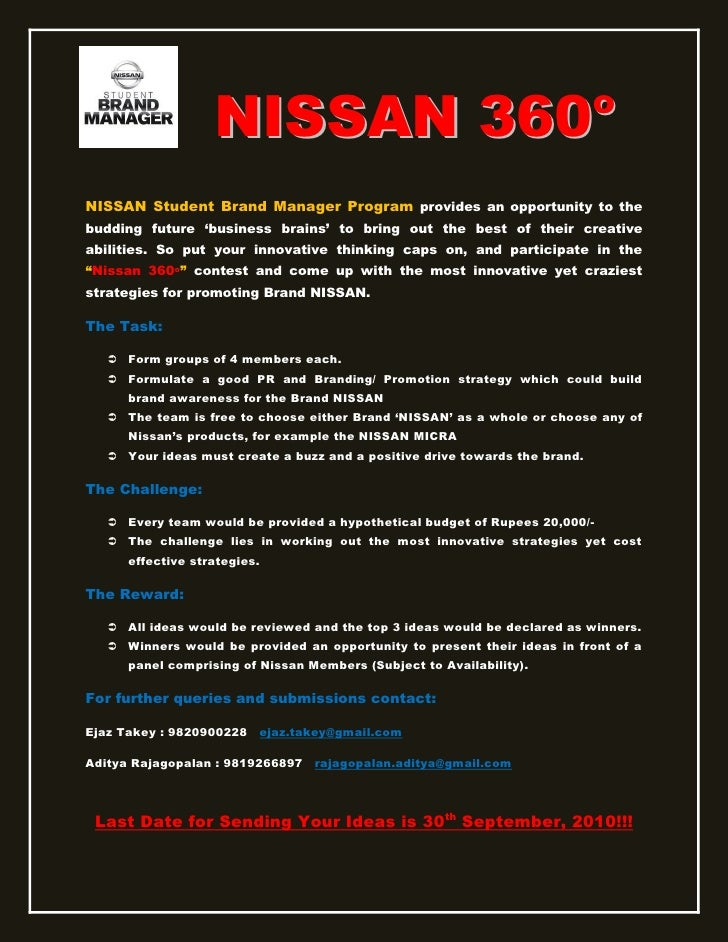 NISSAN 360                                                oNISSAN Student Brand Manager Program provides an opportunity to...