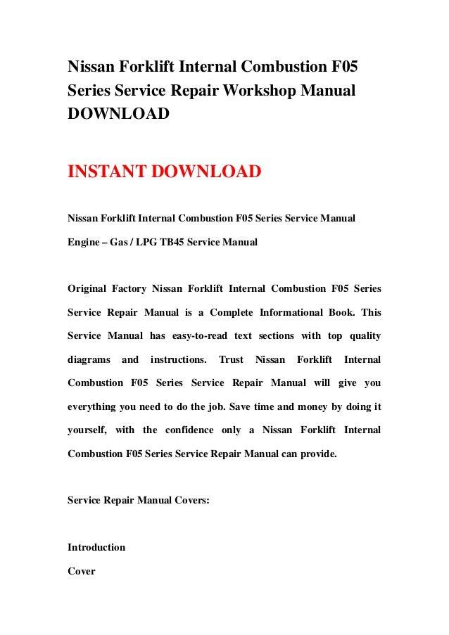 Nissan forklift internal combustion f05 series service repair workshop manual download