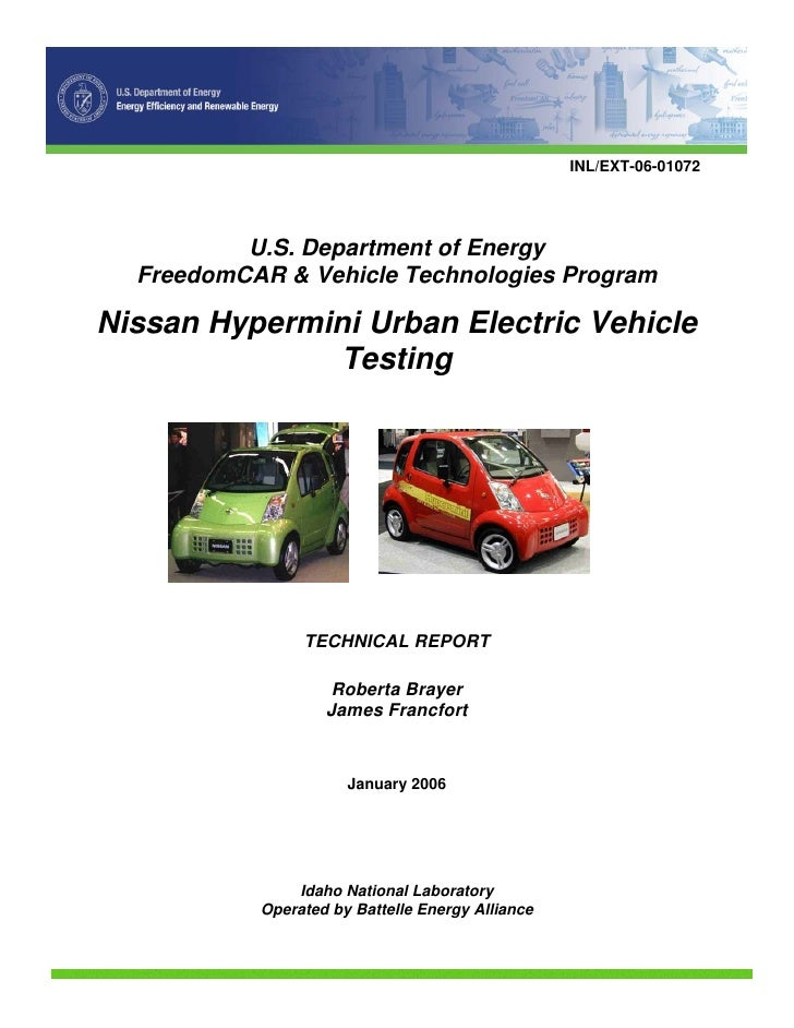 INL/EXT-06-01072               U.S. Department of Energy   FreedomCAR & Vehicle Technologies Program  Nissan Hypermini Urb...