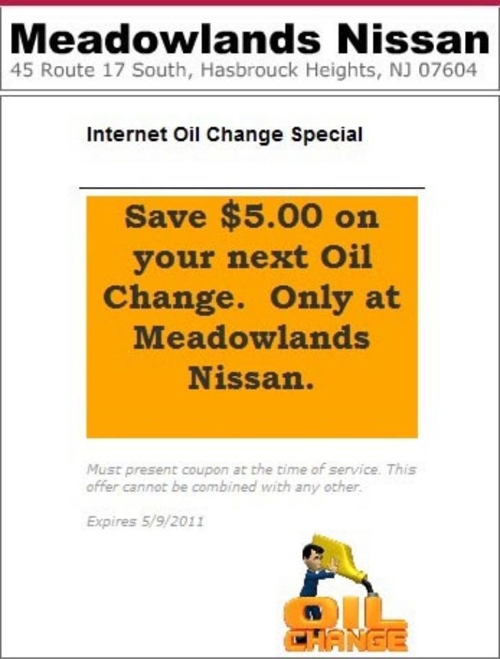 Nissan Internet Oil Change Special Bloomfield NJ | Meadowlands Nissan