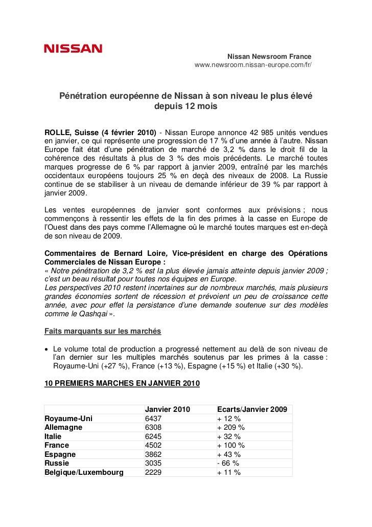 Nissan Newsroom France                                             www.newsroom.nissan-europe.com/fr/    Pénétration europ...