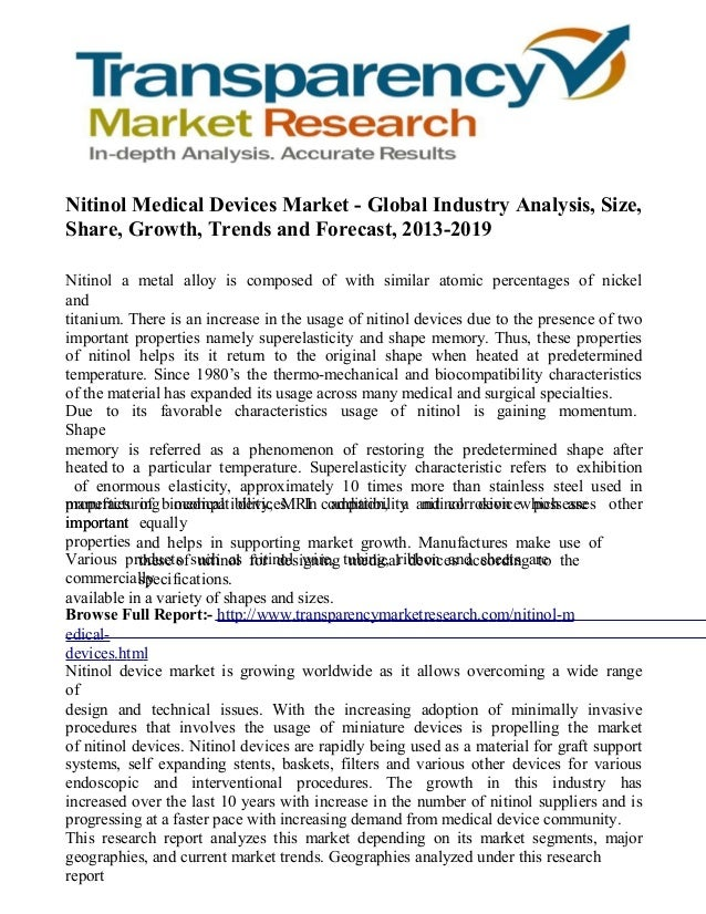 Nitinol Medical Devices Market - Global Industry Analysis, Size, Share, Growth, Trends and Forecast, 2013-2019
