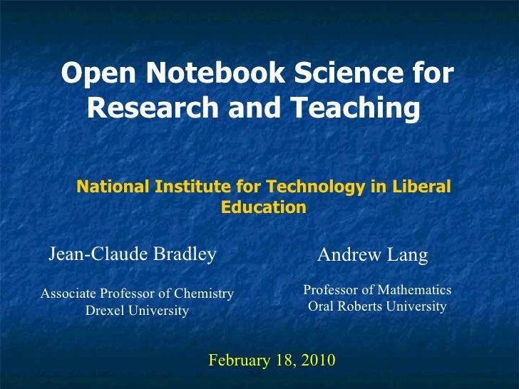 NITLE Open Notebook Science Talk