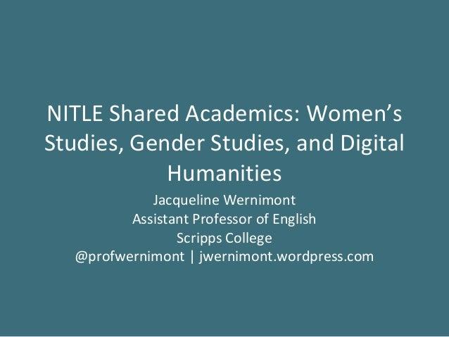 NITLE Seminar: Women's Studies and DH